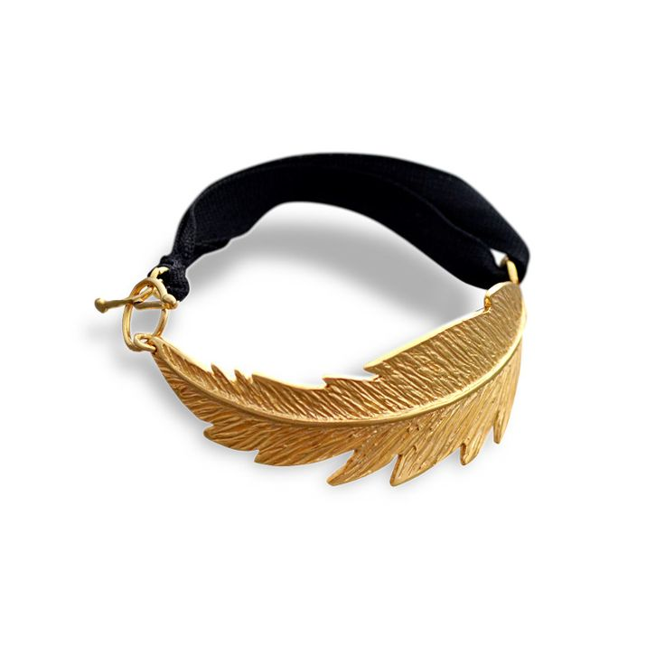 Feather cuff bracelet (gold-plated)