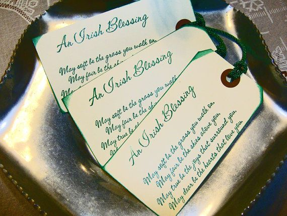 $7.99   CELTIC WEDDING    Wedding Favors  Set of 10 - An Irish Blessing Handstamped Wedding Tags or Bookmark Favors