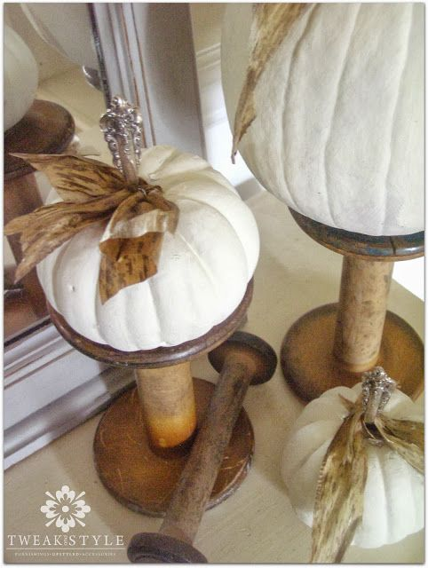 online shopping boots cheap Vintage Spools as Pedestals for Silver Stemmed Pumpkins  Beautiful Funky Fall Look