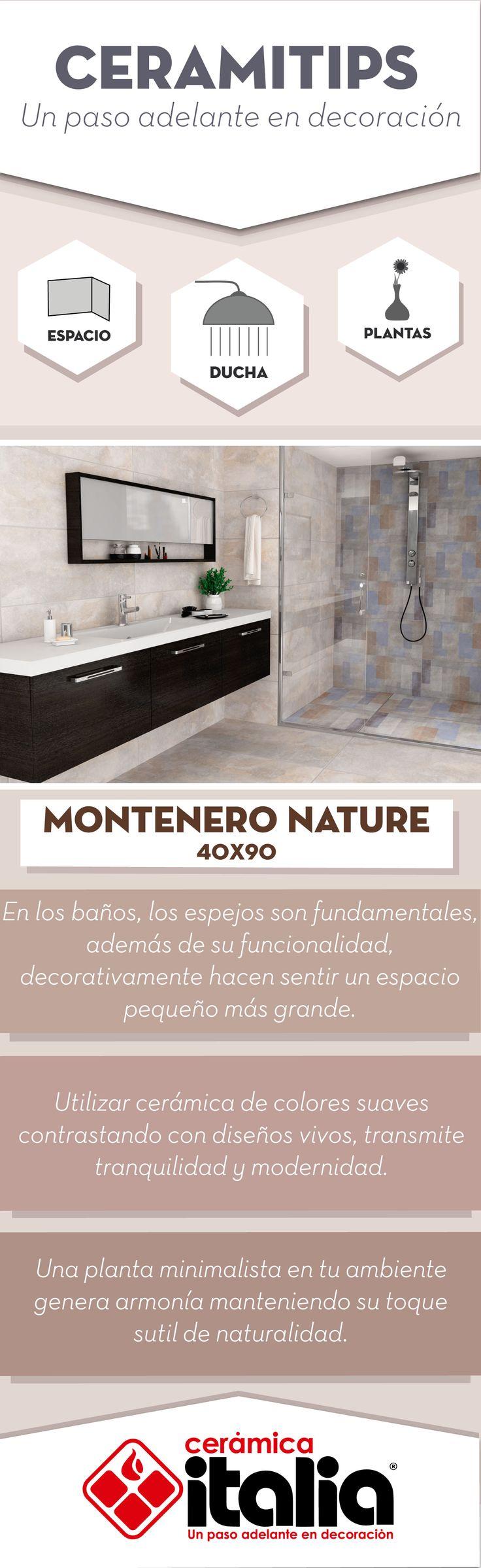 Utiliza cerámica de colores suaves contrastando con diseños vivos, transmite tranquilidad y modernidad. #Baño # bath #Planta # Plant #Violeta # Violet