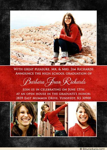 High School Graduation Decoration Ideas | photo-high-school-graduation-red-charcoal-announcement