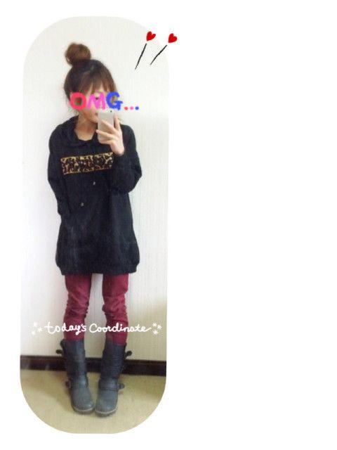 12/12 Code..   トレーナー➜しまむら スキニー➜?? ブーツ➜??   昨日、 人気ユーザーのyurika*さんが ボルドーのパンツ履いてたのでっ♧