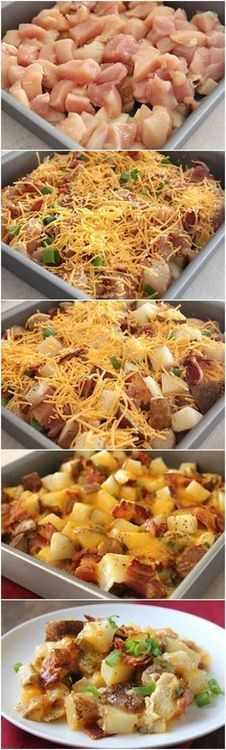 Loaded baked potato and chicken casserole. Quick and easy, feeds the whole family!