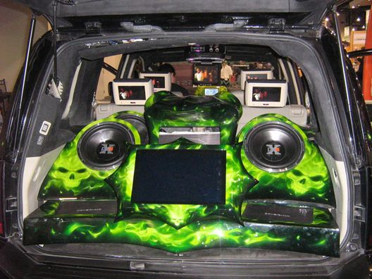 Lime Green Sound System Custom Car Sound Systems