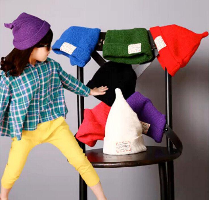 Зима мода конфеты цвета шляпы, Дети бренд Skullies и шапки, Дети шерсти вязать шапки, Мальчики соску шапки, 1 шт. розничная