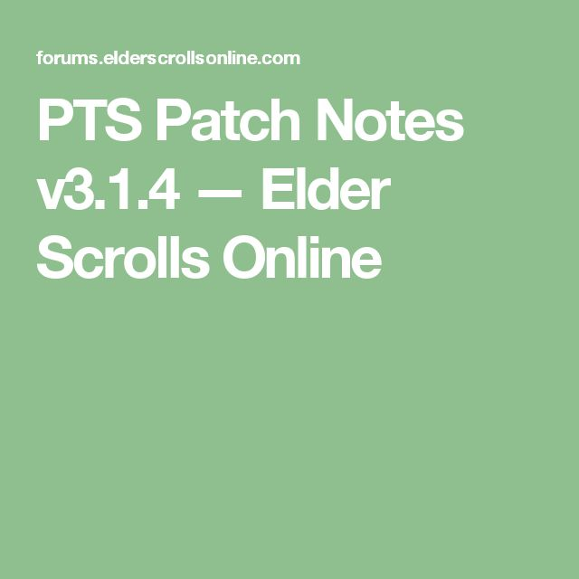 Eso release notes