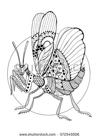 Mantis insect coloring book raster illustration. Anti-stress coloring book for adult. Tattoo stencil. Black and white lines. Lace pattern