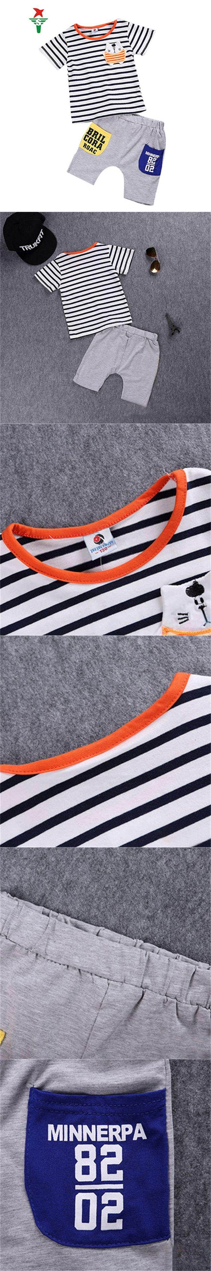 Bobo Choses Summer kids Boys T shirt shorts Set Navy strip kids clothes children tracksuit Boy sport Suit Outfit vetement garcon