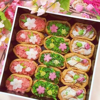 こちらは桜でんぶのピンクと菜の花のグリーン。やはりピンクとグリーンがあると一気に春らしいお弁当になりますね。