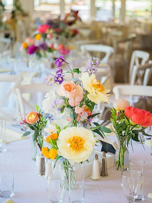 Colorful Centerpieces For Summer Garden Wedding Summer Garden Wedding Garden Wedding Centerpieces Colorful Centerpieces