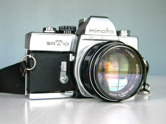 Vintage Minolta SR-T 101 SLR Camera with Minolta Lens and Nice Leather Field Case http://minivideocam.com/product-category/camera-cases/