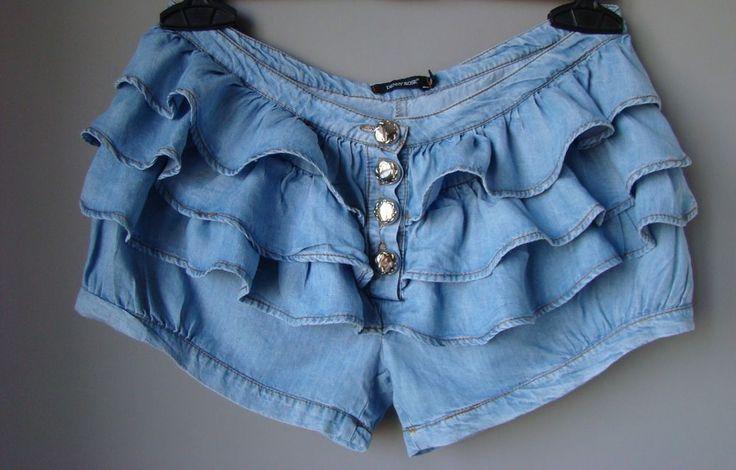 Shorts culotte denim jeans DENNY ROSE BALZE volant pantaloncini estivi M 42 blu