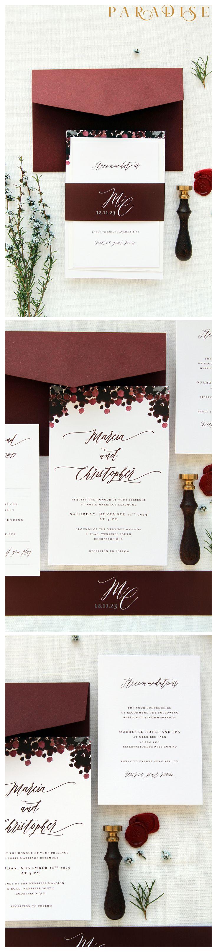 Jordan Burgundy Wedding Invitation Sets Monogram Invitation