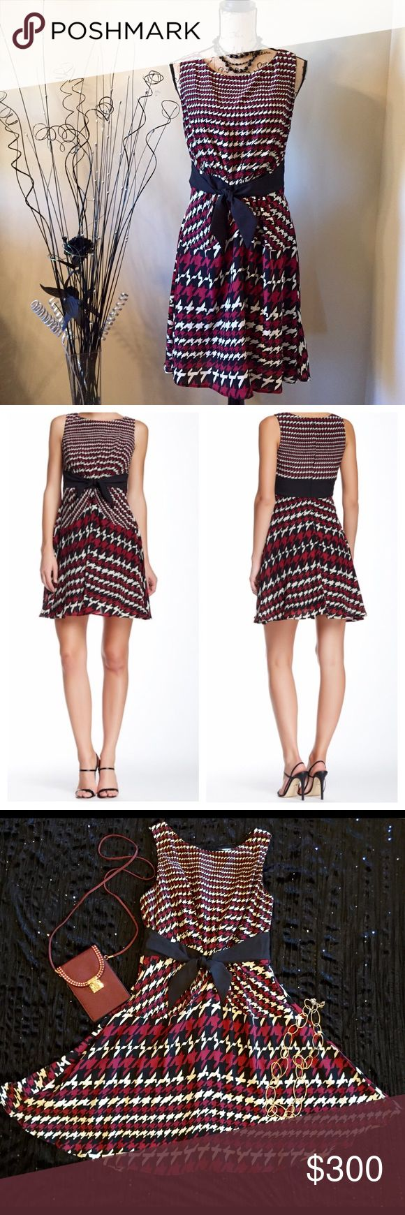 "⬇️💰EVA FRANCO Sleeveless Houndstooth Dress EUC EVA FRANCO Deni Fit & Flare Sleeveless Houndstooth Dress Excellent Pre-Owned Condition; No Stains, Rips Or Piling  MSRP: $495.00  Size: 10 Black, Crimson, & White Houndstooth Print With Black Waist Tie So Chic & Classy! Wear Alone With Strappy Sandals Or Add A Jacket/Blazer For A Professional Office Look. Crew Neck, Fully Lined, Hidden Back Zip Closure  Measurements Without Stretching: Armpit To Armpit: 17"" Length: 38"" From Top Of Shoulder 100%…"