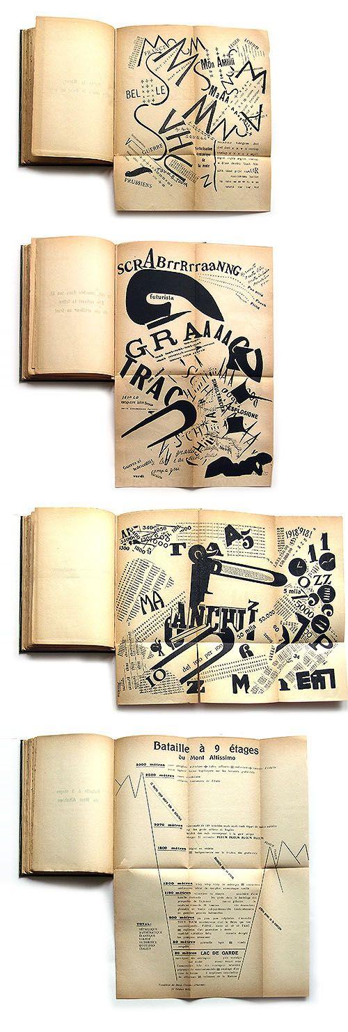 Quelques images d'un livre magnifique datant de 1919 : Les Mots en liberté futuristes.