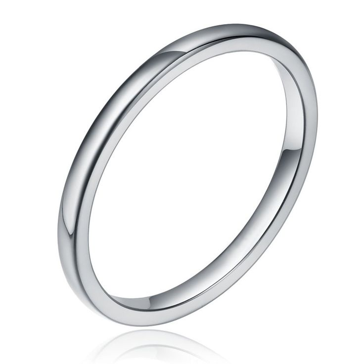 TIGRADE Tungsten / Titanium Metal 2mm High Polished Plain Domed Comfort Fit Wedding Band Ring Size 4-13 | Amazon.com