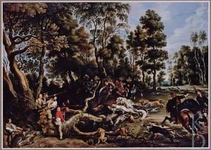Lucas van Uden after Peter Paul Rubens / Lov na kance v zalesněné krajině • Boslandschap met een zwijnenjacht / ca. 1616 (1615 - 1672) / olej na desce / Christie's (Londen (Engeland)