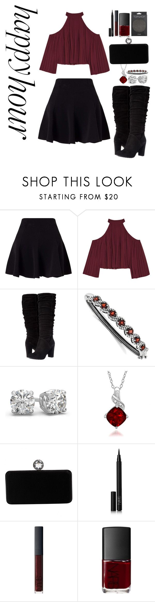 """""""Crimson Mistress"""" by mias-angels on Polyvore featuring Miss Selfridge, W118 by Walter Baker, Nine West, BillyTheTree, Amanda Rose Collection, Swarovski, NARS Cosmetics and Topshop"""
