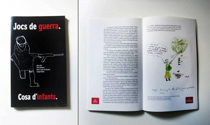 "Maquetación del libro ""Jocs de guerra. Cosa d'infants"", de la Fundació Akwaba (L'Hospitalet de Llobregat). Compilación de dibujos y relatos de niños soldado.  Ediciones Quadriga. Octubre 2007."