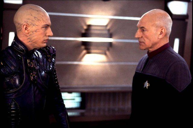 Patrick Stewart and Tom Hardy in Star Trek: Nemesis (2002)