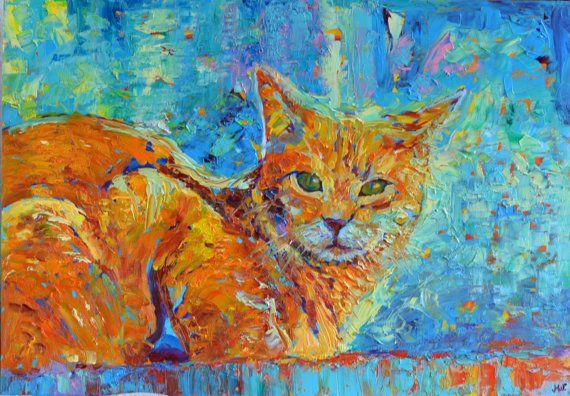 Cat painting Fine art painting Original modern art by TanabeStudio