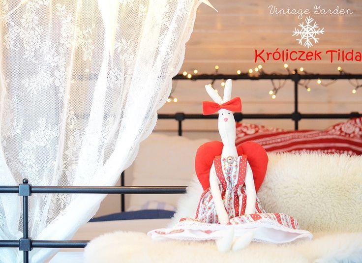 Duży Świąteczny Królik Tilda *TILDA BUNNY* w Vintage Garden - ręcznie szyte niepowtarzalne lalki na DaWanda.com