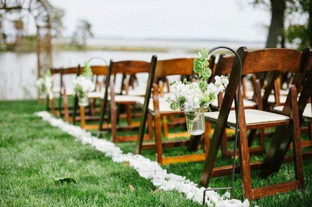 Rustic Wedding Ceremony. Ceremony Flowers.