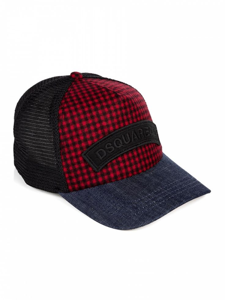 Dsquared Red Checked Logo Baseball Cap