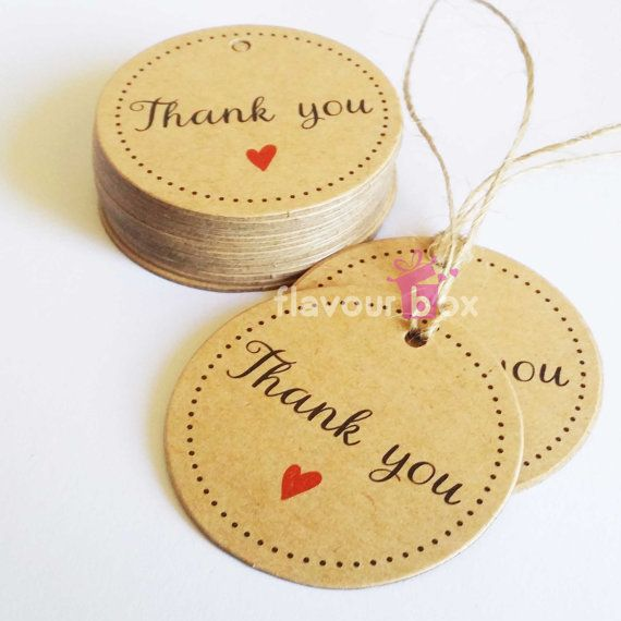 10x Kraft Round THANK YOU Paper Swing Tags by flavourbox
