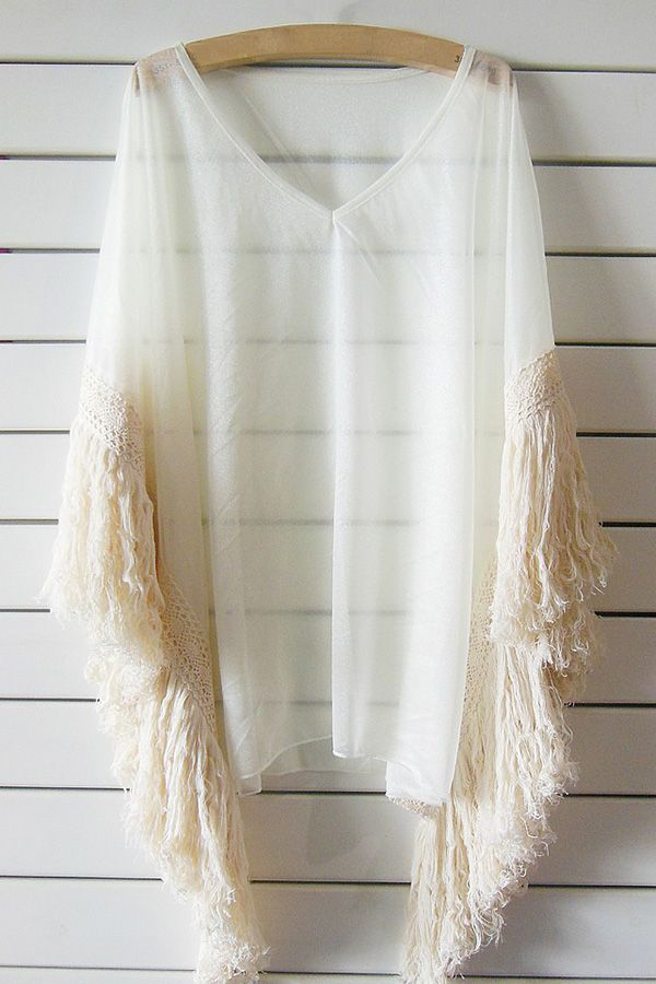 Tassels See Through V Neck Bat-Wing Sleeve Cover Up