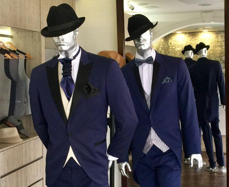 #Novios #Azul #Marino #2017 #bespoke #hecho a #Mano #suits