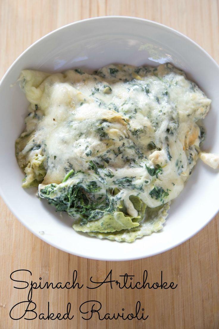 Spinach Artichoke Baked Ravioli Recipe