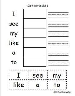 Time 4 Kindergarten: Sight Word Practice