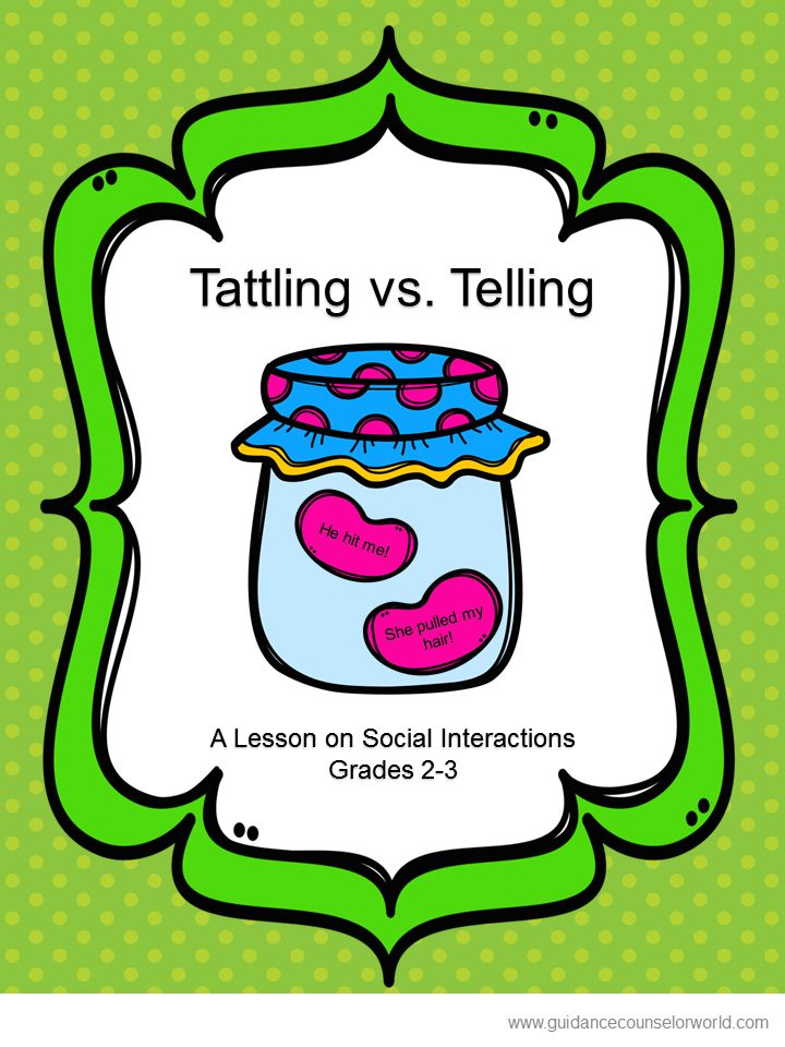 "Guidance lesson on Social Interactions, for Grades 2-3.Teach students to know when to ""tell"" and when not to ""tattle."" NEVER create another guidance lesson again with our aligned K-6 guidance lessons! We've got more GUIDANCE LESSON Plans, all which are aligned for grades K-6! Each lesson plan has a Word doc for each grade level and a PDF that includes all interactive activities and printables. Telling 