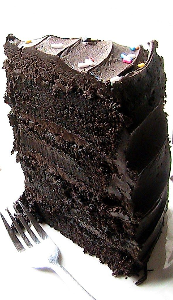 Decadent Dark Chocolate Cake. Oh. My. Goodness. This *looks* like Cheesecake Factory's Blackout Cake!