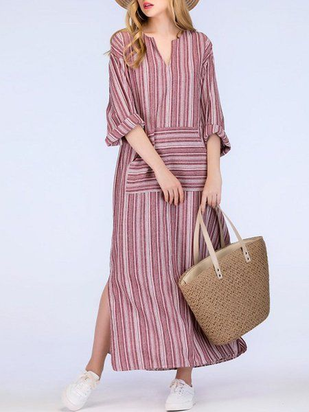 6bebe8dc13 Buy Dress For Women at PopJulia. Online Shopping Plus Size V-Neck Dress  Shift Daily Linen Pockets Maxi Dress