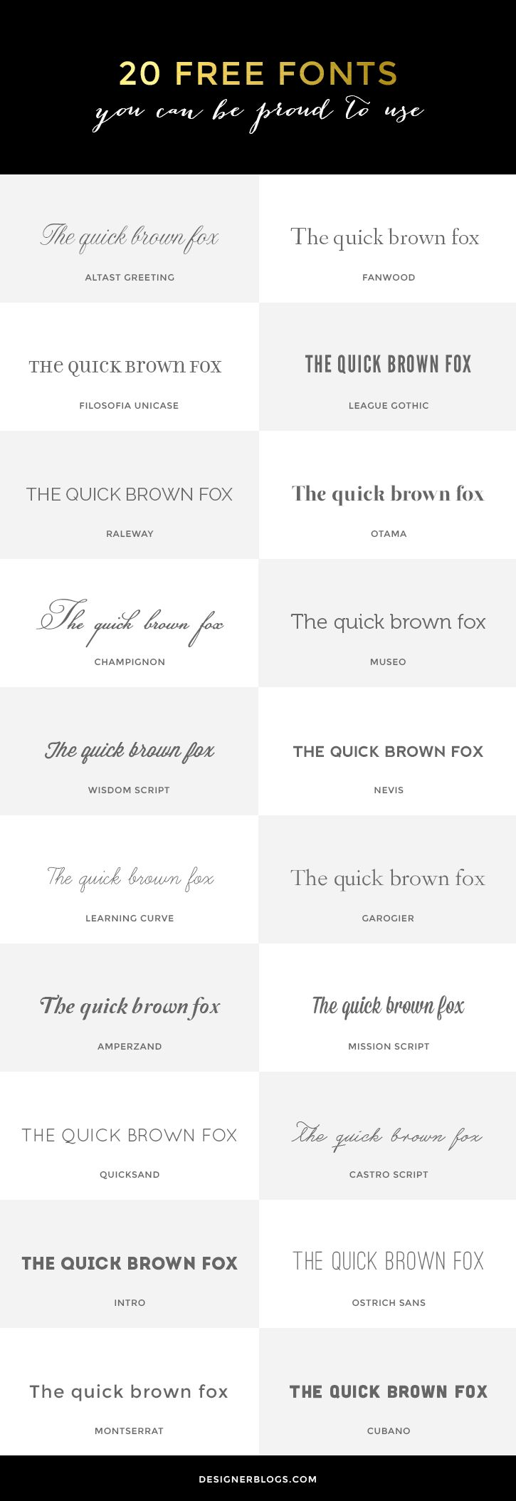 20 Free #Fonts You Can Be Proud to Use. #typography