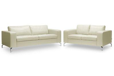 Baxton Studio Lazenby Cream Leather Modern Sofa Set | Affordable Modern Furniture in Chicago