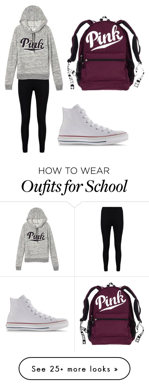 """""""Lazy Monday at school"""" by avowme on Polyvore featuring Boohoo, Victoria's Secret and Converse"""