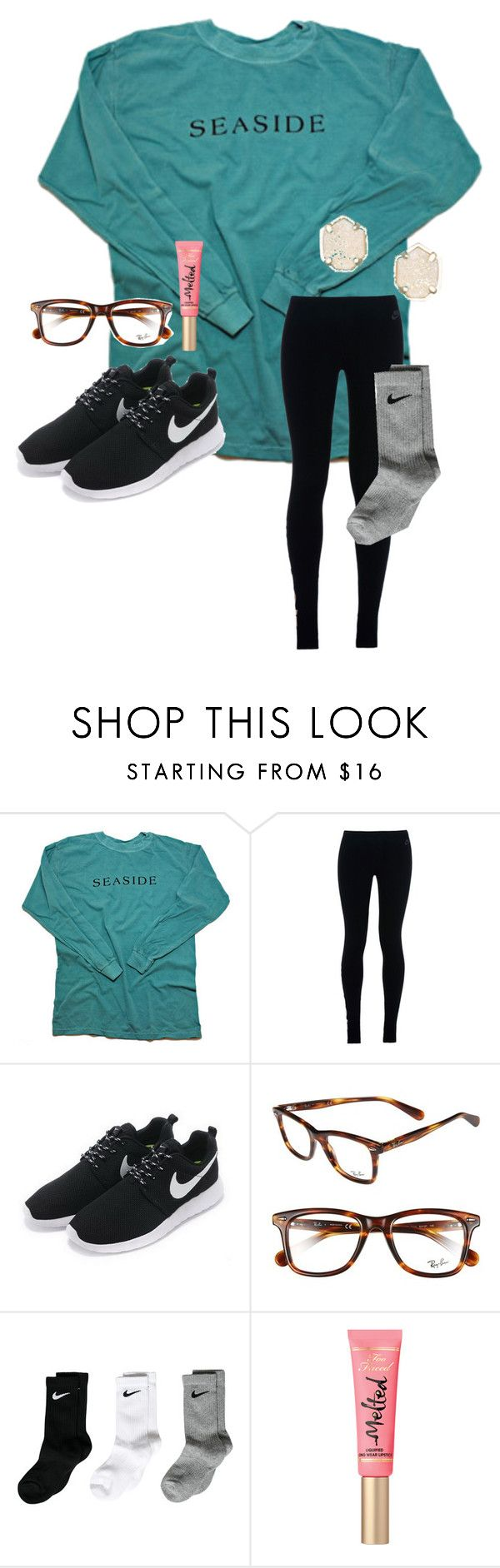 """Volleyball party!!❤️"" by justice3-1 ❤ liked on Polyvore featuring NIKE, Ray-Ban and Kendra Scott"