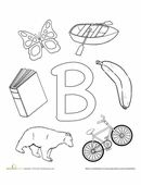 Help your preschooler learn the alphabet and practice letter B sounds all while having fun and coloring!