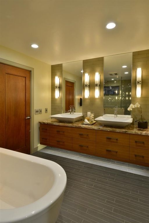Photography Gallery Sites Contemporary Master Bathroom with Norwell lighting astro light bath vanity light Complex granite counters Vessel sink