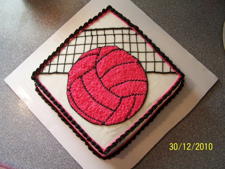 cricut volleyball ideas | square cake with volleyball and net.