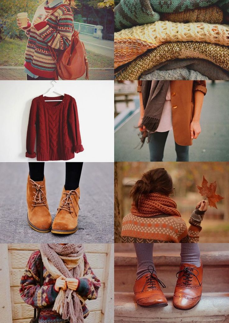 Fall/Autumn clothing <3 Printed and plain sweaters, thick scarves, boots, oxfords, cuddleing, muted bright colors, leaves... <3