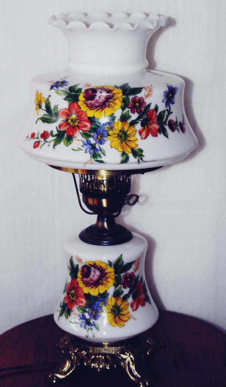 Vintage Hand Painted Hurricane Lamp, Exceptional Painting, Reds, Yellows,  Blues, Greens