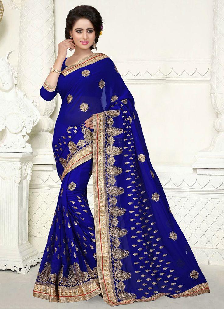 Stylish Blue Georgette Saree