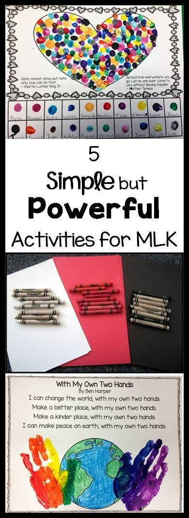 5 Simple but Powerful Activities for teaching tolerance in conjunction with Martin Luther King, Jr. Day. Great for early childhood, Pre-K, Kindergarten and 1st grade!