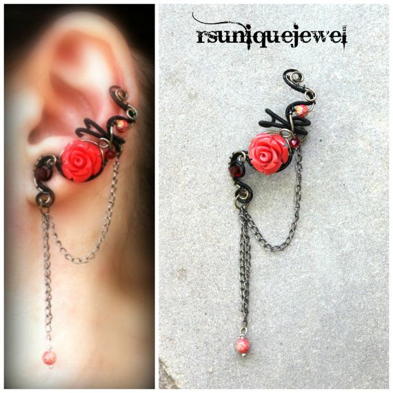 Wire wrapped Coral Rose ear cuff No piercing by rsuniquejewel