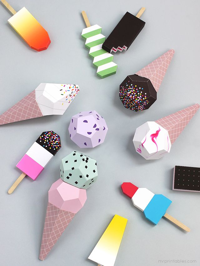 Paper Ice Cream templates / Mr Printables @mrprintables