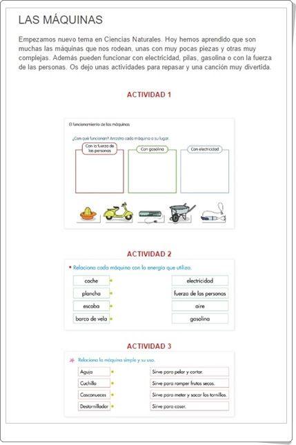 """Unidad 8 de Ciencias de la Naturaleza de 1º de Primaria: """"Máquinas y herramientas"""""""